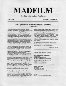 Newsletter for the Madison Film Forum, Volume 4, Number 1, Fall 1999