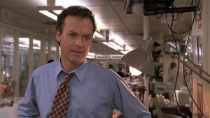 Michael Keaton in Ron Howard's THE PAPER, co-written by David Koepp and screening at UW-Cinematheque Wednesday at 7PM.